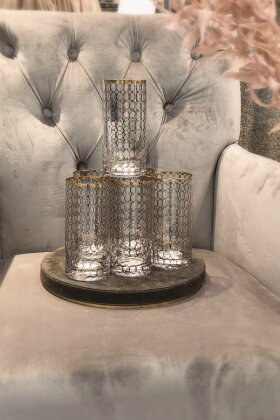 Nordal - 6 stk Clear Tall Glass Gold